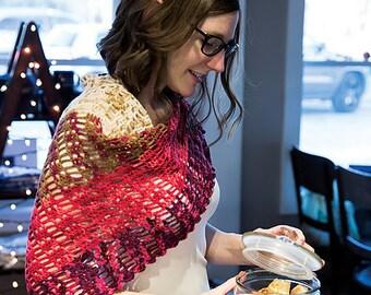 Handmade Crochet Shawlette - Red,Browns, Cream Multi