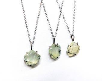 Prehnite Pendant- geometric necklace, gemstone necklace, green stone, minimalist necklace, layering necklace, simple pendant
