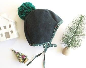 Wool Pom Bonnet, Wool Bonnet, Brimless Bonnet, Green Bonnet, Green Pom Bonnet, Woolen Bonnet, Wool Brimless, Green Brimless Bonnet