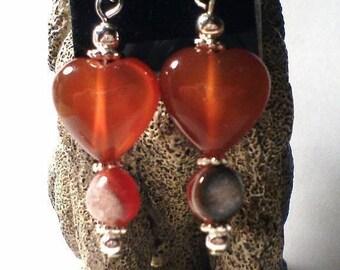 ON SALE Valentine Heart Pendant, Carnelian Heart Pendant, Heart Drop, Heart Pendant, Carnelian Heart, Carnelian Heart Necklace, Carnelian Ne