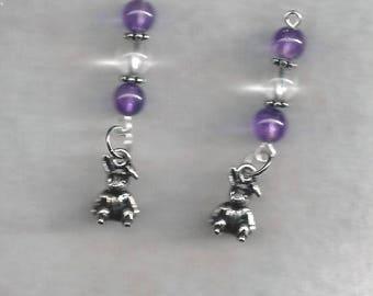 Bunny & Gemstone Earrings, Easter Earrings, Charmed Earrings, Dangle Earrings