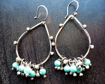 Dotted Sterling Silver and Turquoise Teardrop Earrings