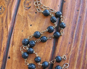 """Black Lava and Antiqued Brass Twist Link Chain Segments - 2 7"""" pieces"""
