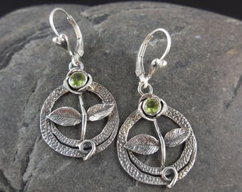 Peridot gemstone sterling silver flower earrings