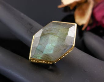 Labradorite gold over sterling silver ring - size 9