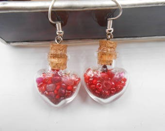 MADE TO ORDER Tiny Heart Shaped Vial Earrings with red for Valentine's Day Made To Order in 1 Day wait
