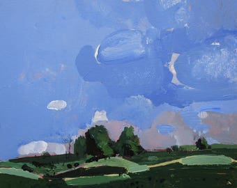 Fly, Original Spring Plein Air Landscape Painting on Cradled Birch Panel, Ready to Hang, Stooshinoff