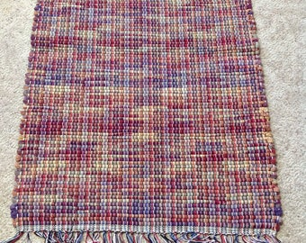 Rag Rug reuse flannel sheets 27 inches long by 23 inches wide Handcrafted OOAK Homedecor