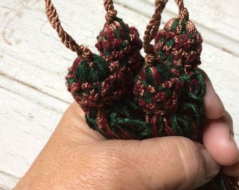tassels set of 4,muti-colored tassels,new old stock, green,maroon and gold,embellishing,trimming,4 inches long,