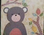 Custom Listing for Atara Zak Brown Woodland Animals-Bear Fox Rabbit Mixed Media Painting Folk Art Custom Wall Art