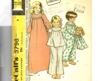 McCall's Childs' and Girls' Nightgown Pajamas and Pajama Bag Pattern 3798