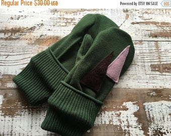 SALE- Wool Blend Mittens- Christmas Tree-Upcycled Clothing-Green and Purple