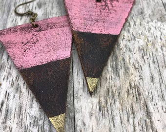 Painted Leather Earrings--Triangles-Boho Earrings-Mini Canvas-Pink