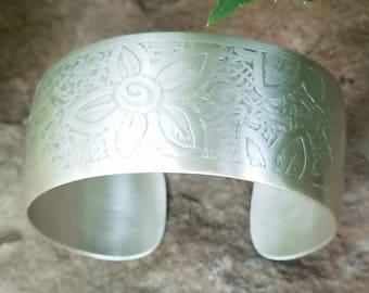 Sterling Cuff Bracelet, Subtle Floral Etched Pattern, 1 Inch Wide