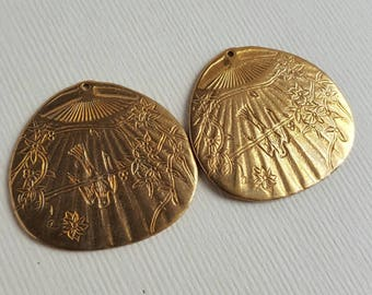 Vintage brass engraved charms