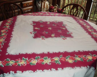 Vintage Tablecloth Burgundy with Fruits Scrollwork 48 x 53 inches