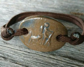 Maggie's Farm Guy Hiker with Trusty Companion Adjustable Bracelet