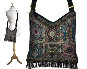 Boho Tapestry Bag, Bohemian Gypsy Fringe Purse, Cross Body Hobo Bag, Crossbody Bag, Kilim Tapestry Fabric Purses , blue green red black RTS