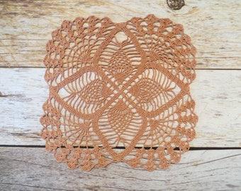 Copper Mist Square Pineapple Crochet Doily