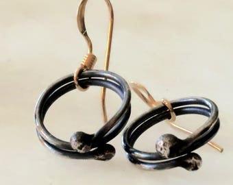 Minimalist Circle Earrings, Mixed Metal Circle Earrings, Oxidized Silver Circle Earrings, Circle Earrings