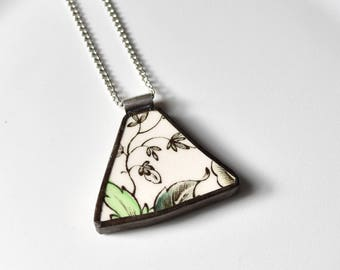 Broken China Jewelry Pendant - Green and White Leaf