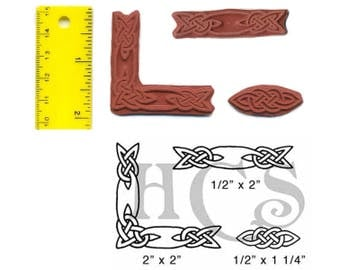 Celtic Knot Border Unmounted Rubber Stamp Set 3 Designs