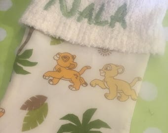 Disney Lion King Simba and Nalanand Chenille Handmade Christmas Stocking with FREE US SHIPPING