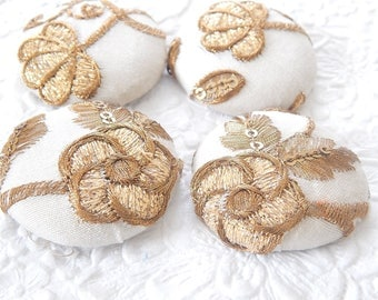 SPRING COLLECTION - 4 gold ivory floral textured fabric buttons, 1.5 inches, 3.81 cm, 38.1 mm, size 60 buttons