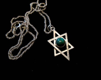 Vintage Handmade Sterling Silver Star of David Necklace - Turquoise Cabochon
