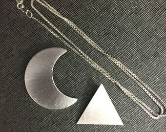 Crescent Moon Stevie Nicks Inspired Necklace, Stevie Nicks inspired Pyramid Necklace, Stevie Nicks-inspired Pyramid Pendant, Sterling Silver