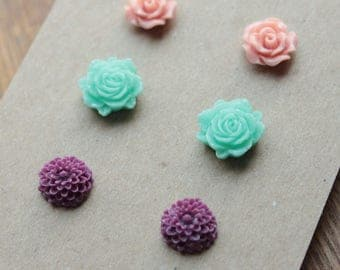 Post Earrings - 3 pairs - Plastic - Surgical Steel - Dusty Rose, Mint, Plum