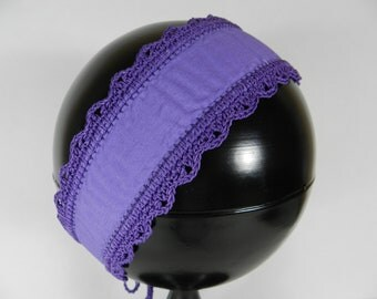 Purple Headband, Crocheted Lace Trim, Headband with ties