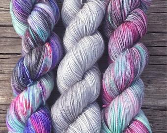 RTS - OOAK Set - 70/20/5 SW Merino, Nylon, Gold Stellina - Sock Yarn - Fingering Yarn - Speckled Yarn - Fluer Sock - 300 Grams