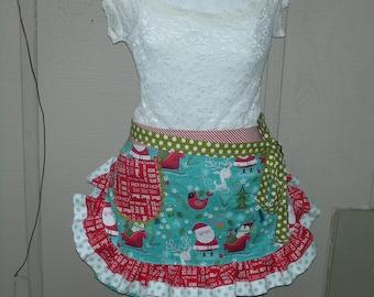 Womens Aprons - Christmas Aprons - Santa Claus Christmas Aprons - Aqua Aprons - Hostess Gifts - Red Holiday Aprons - Annies Attic Aprons