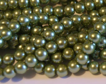Glass Pearl Beads - 42 pc - 8mm - Olive Green Pearl Beads - Pale Olive Pearls - Round - Dyed  - 8mm Olive Pearls