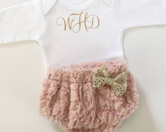 MONOGRAMMED Shabby chic...dusty rose faux fur DIAPER COVER with vintage gold writing - bodysuit set---new baby