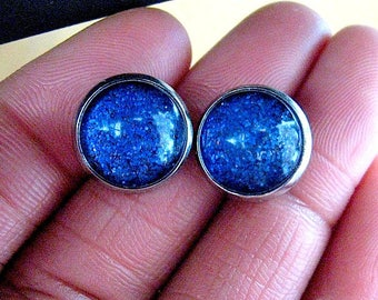 Be Dazzling - Blue Shimmer Post Stud Earrings - Glitter Collection -Blue/Purple Combo