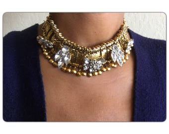 Gold Tone Crystal collar Statement Necklace - Crystal Choker Necklace  - crystal statement bohemian - free US shipping
