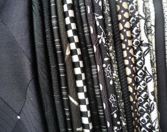 Monotone Black and White Japanese Most Silk Kimono Fabric, Grab Bag, Asian Textile Scrap Bag, Craft Supply