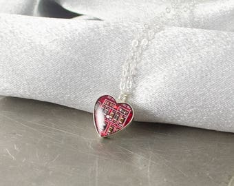 Tiny Heart Circuit Board Necklace, Sterling Silver Jewelry, Electrical Engineer Gift, Valentine Necklace, Geeky Jewelry, Red Love Necklace