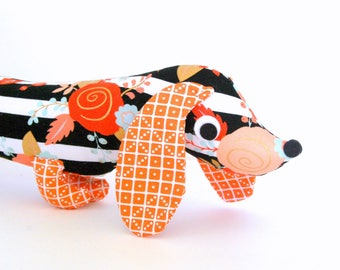 Toddler Gift, Wiener Dog Softie,  Plush Dachshund,  Baby Toy, Stuffed Wiener Dog ENID