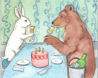 Bear and Bunny Birthday - Fine Art Rabbit Print