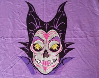 """Malificent Sugar Skull CUSTOM Cotton/Jersey KNIT Unique Fabric PANEL 15"""" × 19"""""""
