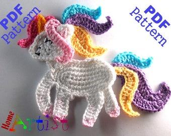 Unicorn crochet applique pattern