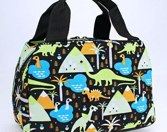 Dinosaur Lunch Box - Personalized Lunch Box - Monogram Lunch Box - Insulated Lunch Box - Lunch Tote - Dino Lunch Tote - Embroidery