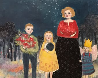 She wanted nothing more for them but the moon and stars, hope and beauty - giclee print  of original oil painting