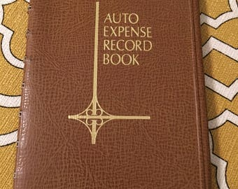 Vintage auto expense record book journal mod