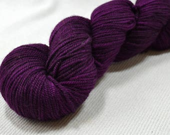 New Yarn New Color Freewheel Organic Merino Worsted Weight by Yarn Hollow in Violent Violet Hand Dyed Semi Solid 4 ounces 250 yards