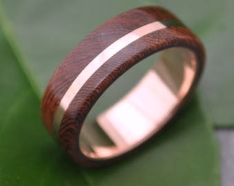 Size 9.5, 6mm READY TO SHIP Rose Gold Solsticio Nacascolo Wood Ring - 14k rose gold, pink gold wood wedding band, wood ring with rose gold