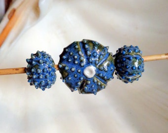 set of 3 Misfit slightly irregular mossy blue sea urchin beads from porcelain clay